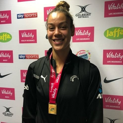NZ goal shooter Maia Wilson after the Silver Ferns won the Nations Cup final in London