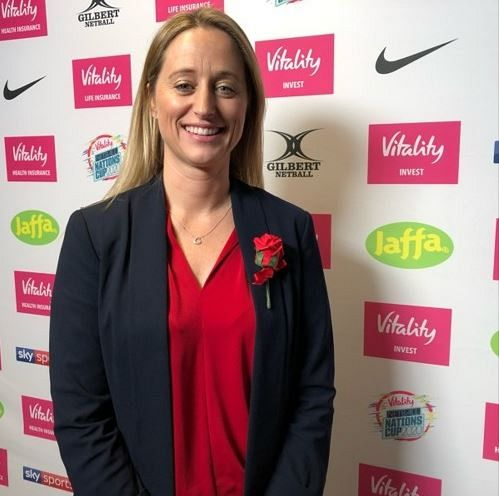 England Roses coach Jess Thirlby at Netball Nations Cup London